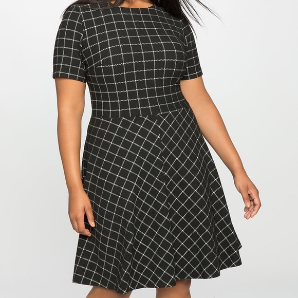 53523ef9433 Eloquii Plaid Windowpane Fit And Flare Dress 16